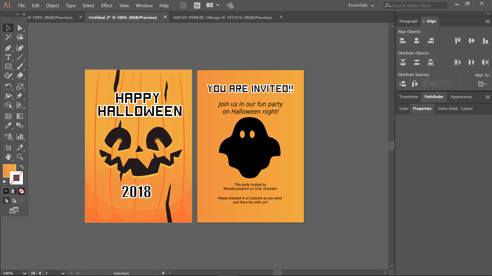 Design your Halloween Invitation using Adobe Illustrator